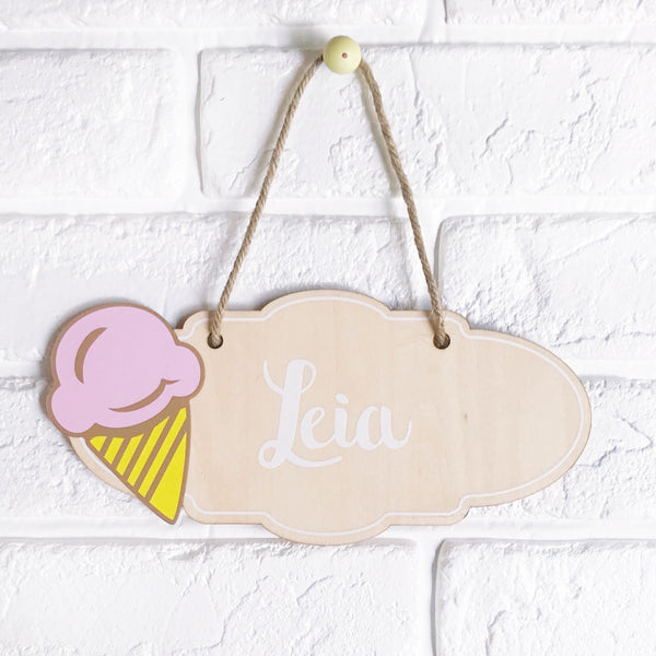Ice Cream Name Plaque