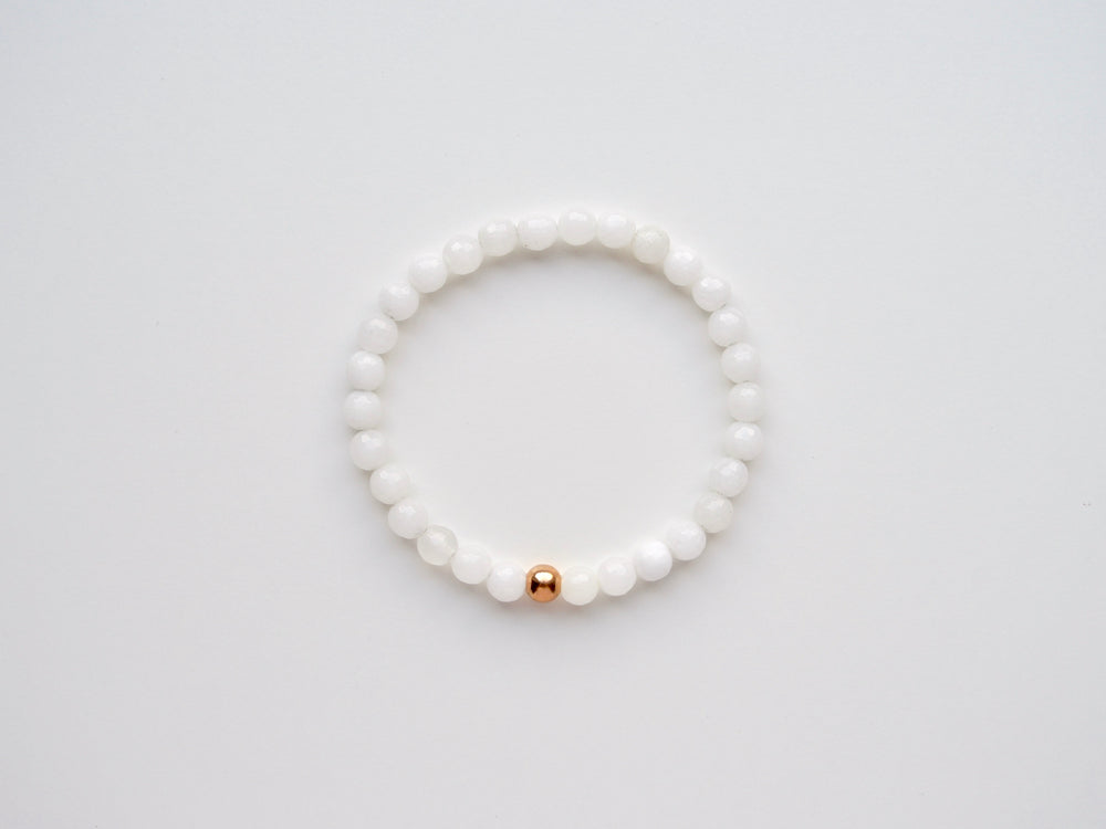 New in: White Onyx Armband rosévergoldet