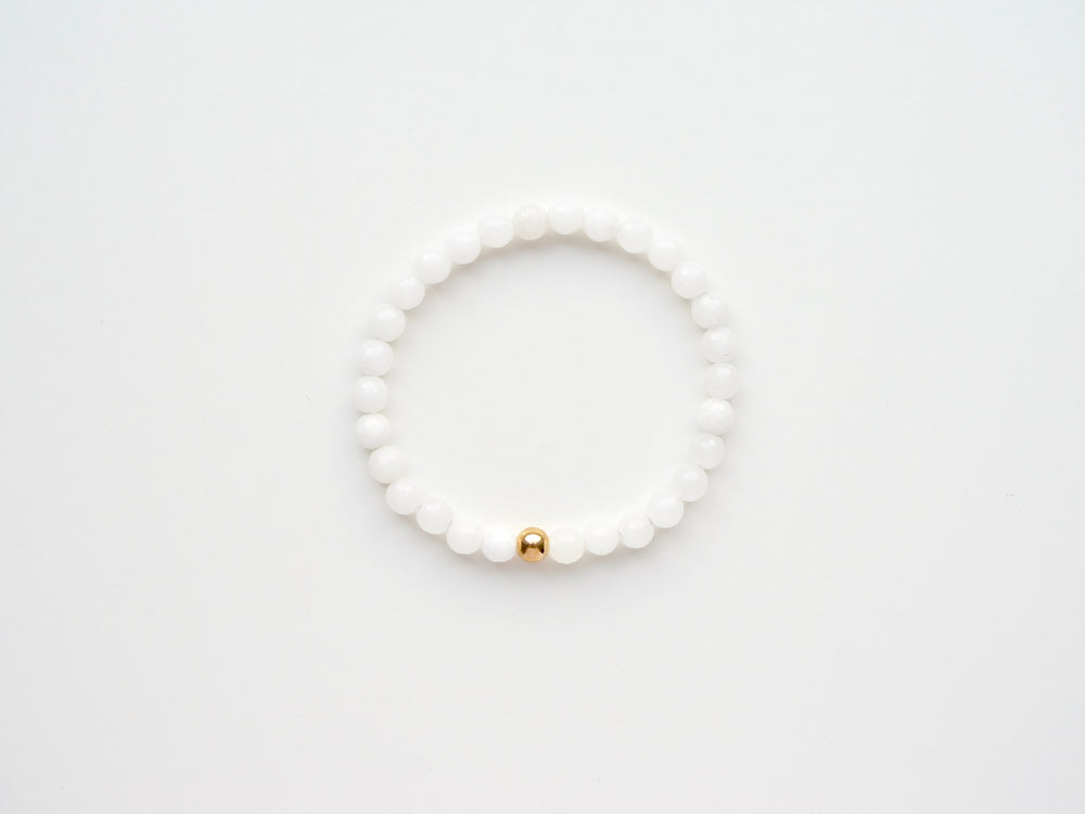 New in: White Onyx Armband vergoldet
