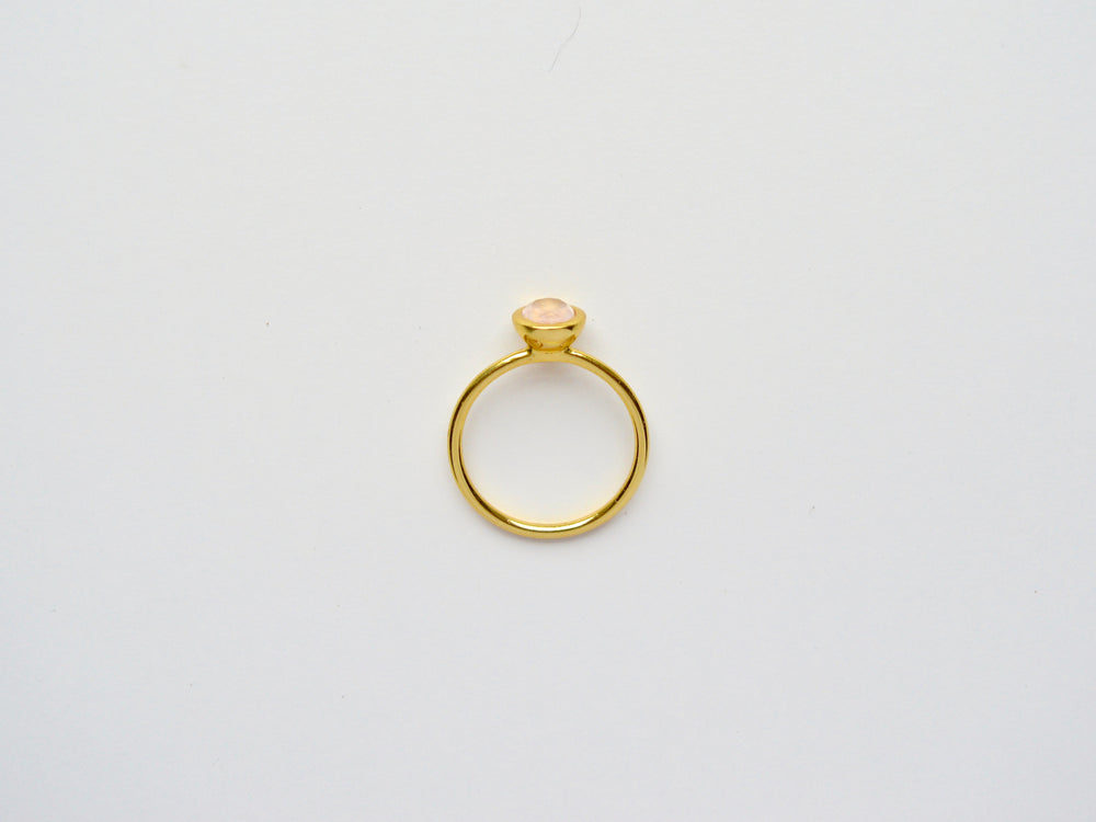 Oval: Rosenquarz Ring vergoldet