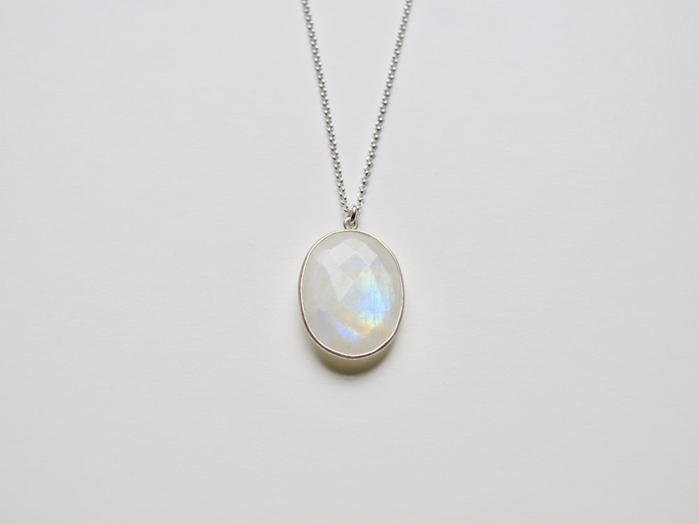 Unikat: Statement Kette Oval Moonstone silber