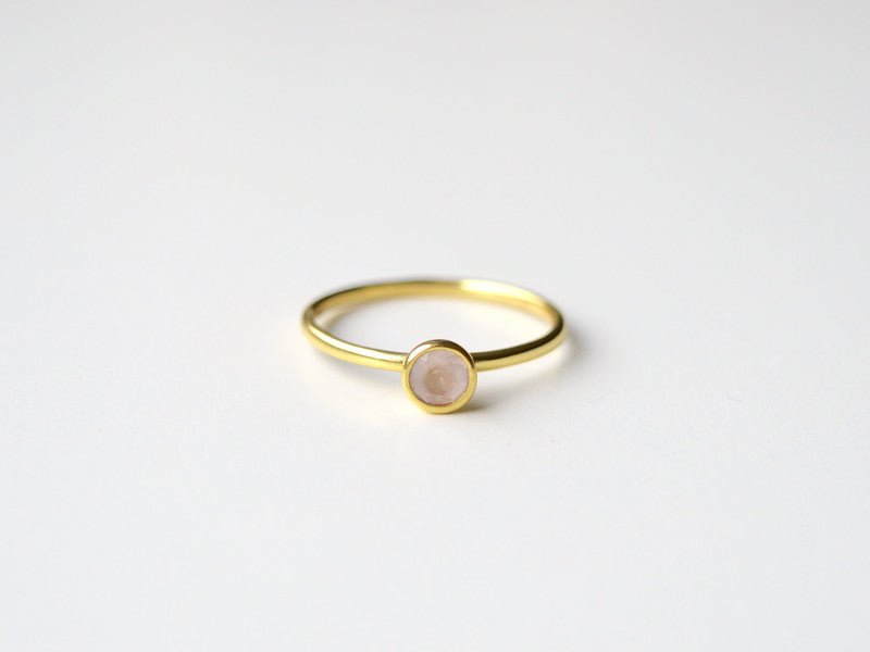 Tiny Gems: Rosenquarz Ring vergoldet