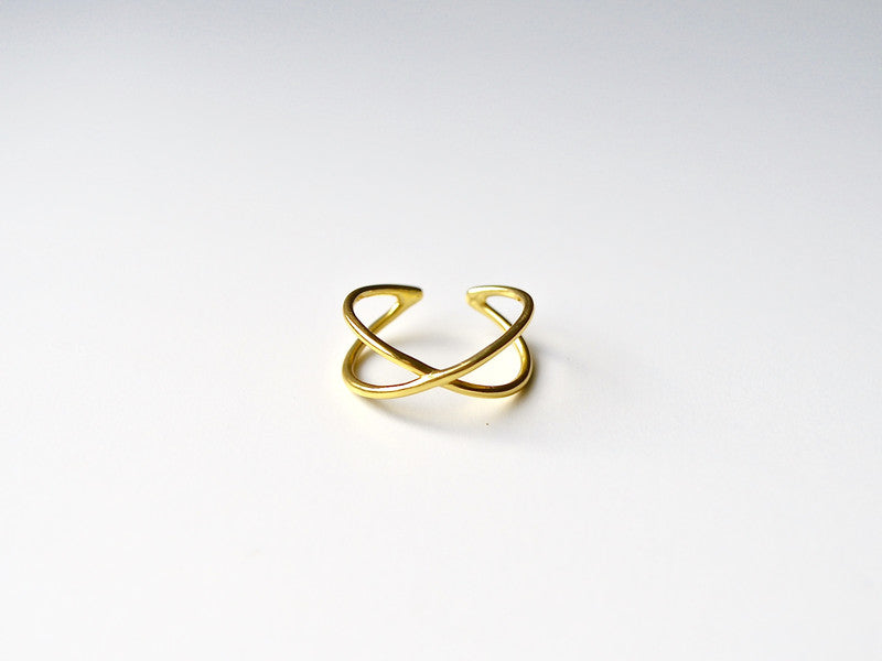 "Cool: Ring ""Cross"" vergoldet"