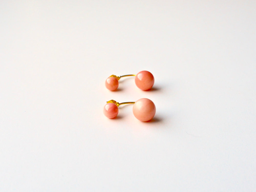 New in: Blush Coral Floating Ohrstecker vergoldet