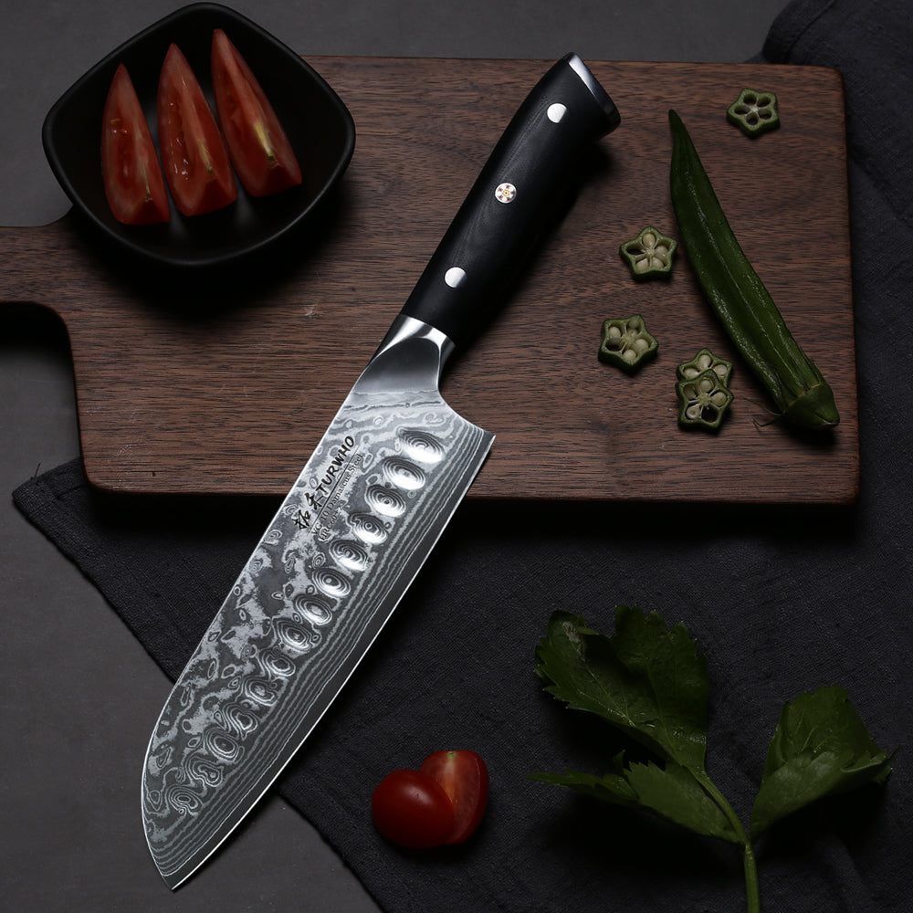 A sharp, subtly curved blade for smooth slicing and dicing. The hottest knife on the culinary circuit is sure to be a superstar in your kitchen. Full, hollow-ground blade means smooth clean cuts every time.