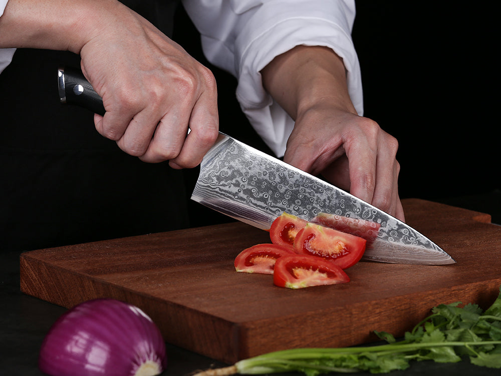 A Japanese-style chef's knife has a profile similar to either the French or German style, and comes in a variety of shapes for particular tasks. And, it will usually be thinner in the cross-section and lighter than its European counterparts, and is typically constructed of an exotic stainless steel alloy.  Japanese blades are well-known for the hardness of the alloys used, and their extreme sharpness. A typical Japanese-style knife is ground to a 15 – 18° angle, while a Western style blade will have a less severe angle of approximately 20 – 22°.