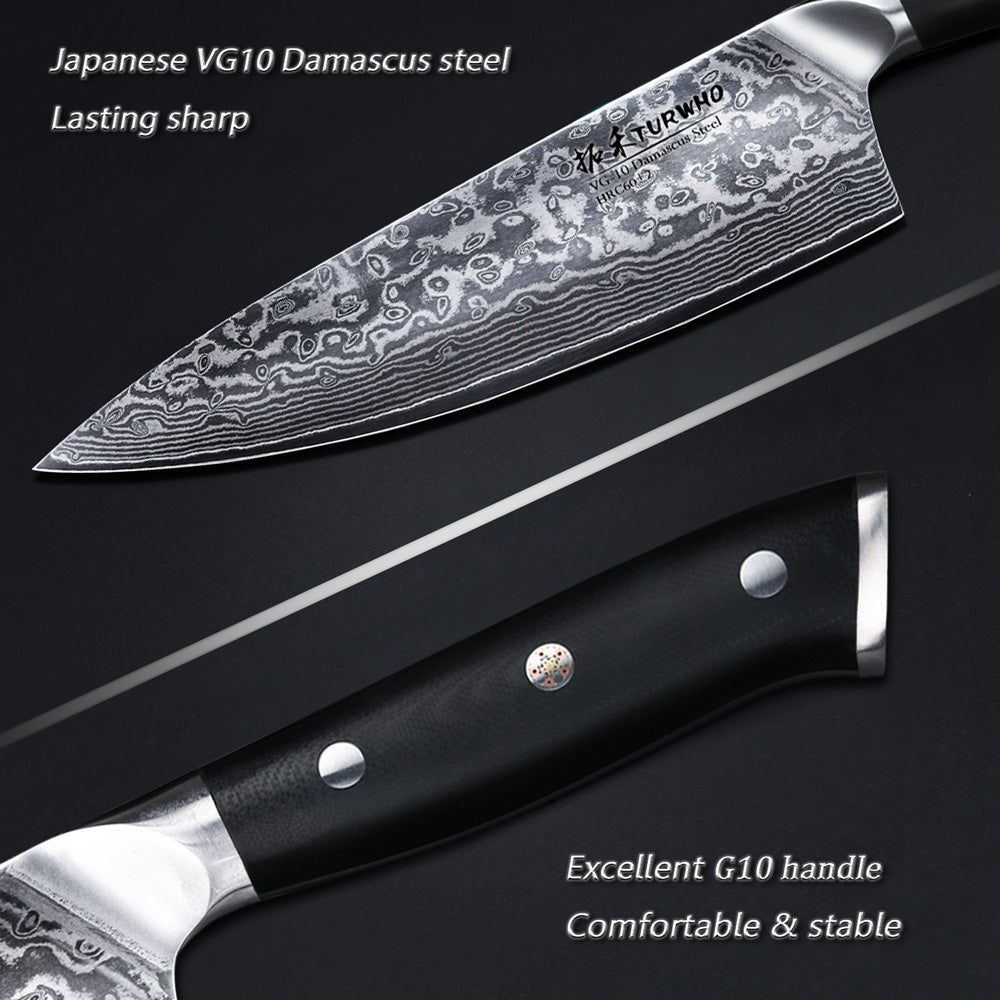 Super VG10 Stainless Steel, Razor Sharp and Superb Edge Retention, Stain and Corrosion Resistant Kitchen Knives