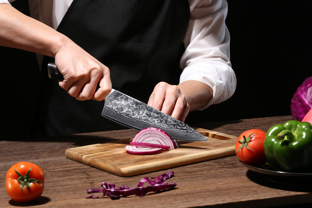VERY sharp! I've had the 10 chefs knife at home for over a year, and it holds an edge so well that I ordered the 8 knife to use at work