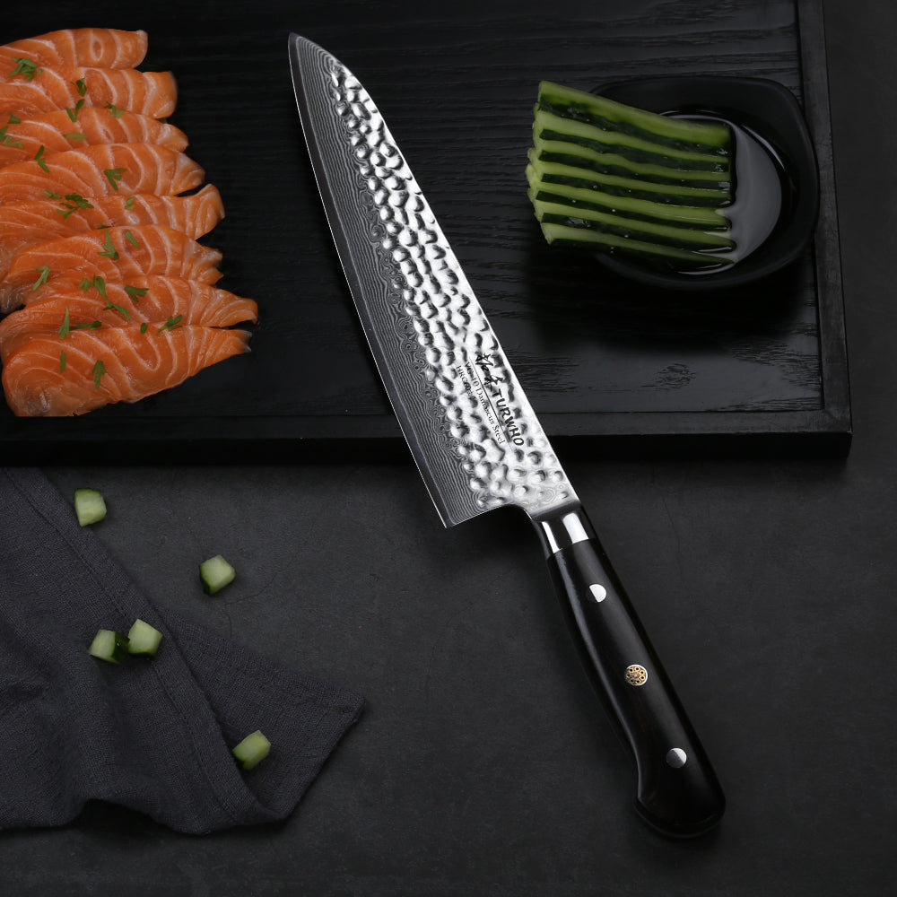 Gyuto Chef Knife will outperform any other knives in your kitchen! Extremely satisfying to hear that slice and dice as your knife glides effortlessly through food.