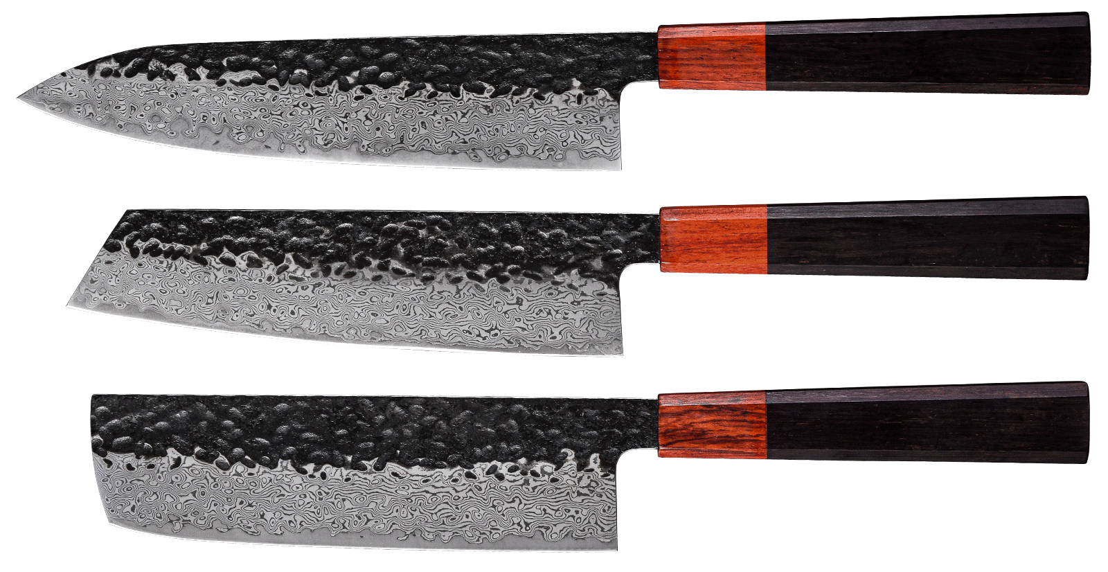 This 8 inches chef knife is made of Premium 67-layer Damascus Stainless Steel, Cutting core at 60+ Rockwell hardness,16-18 degrees cutting edge,the edge is super sharp, extraordinary performance and perfect grain, 67 layers of premium Damascus Stainless Steel layers ensure exceptional strength, durability and stain resistance. it has a strong toughness, it would never rust or fade, can be kept in a long time sharp,Whether chopping meat, fish, vegetables, or fruit each piece is sliced with precision. No squishing. No tearing. This knife guarantees efficient and fast slicing and chopping every single time,this 8 inches Damascus chef's knife,can almost meet all challenge of kitchen.