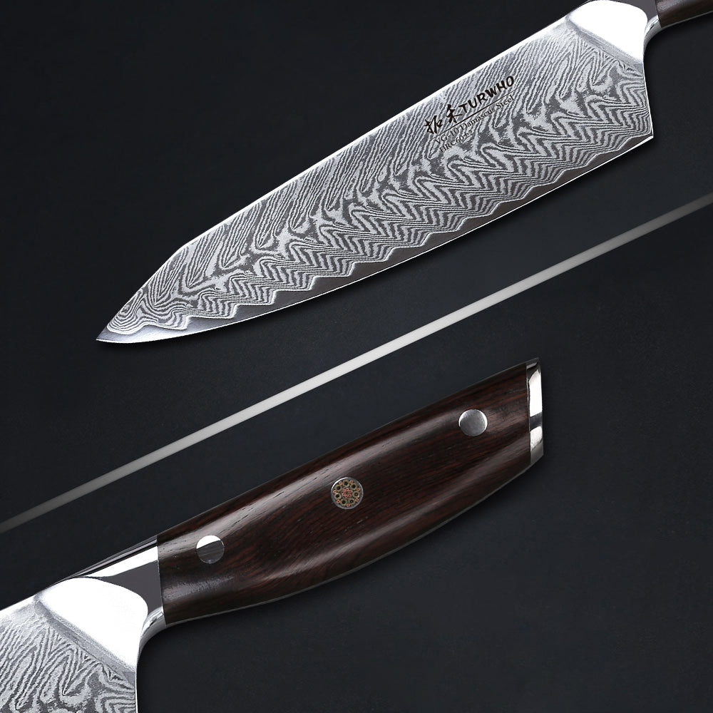 """SANTOKU KNIVES Two of my Best Chef Knives entries are, technically speaking, not chef knives at all. They're Japanese-styled santoku blades (santoku means """"three virtues"""" in Japanese). But I have included them as alternatives to the standard 8-inch chef knife for those of you who feel intimidated by a larger knife, or simply prefer using a smaller-sized blade. For the majority of kitchen tasks, you might not miss the extra inch and appreciate the smaller footprint.  I easily slice up large onions, yams, and honeydews with my santokus (although if you feast on large watermelons all summer long, you might prefer a larger knife). It's amazing how many tasks I can get done with a """"three virtues"""" blade—but I am cooking for a family of three. If you're prepping meals from scratch five-nights-a-week for a family of four or more, then I would point you towards a standard 8-inch chef knife (or maybe even longer). It's better suited for the pure volume of food. (By the way, even though santokus lack a pointy chef-knife tip, I find I never miss it.)  If you go the santoku route, please be aware to buy a 7-inch and nothing smaller. Because most models come in two sizes, and the smaller (around 5-inches) is definitely not long enough to serve as your mainstay kitchen knife."""