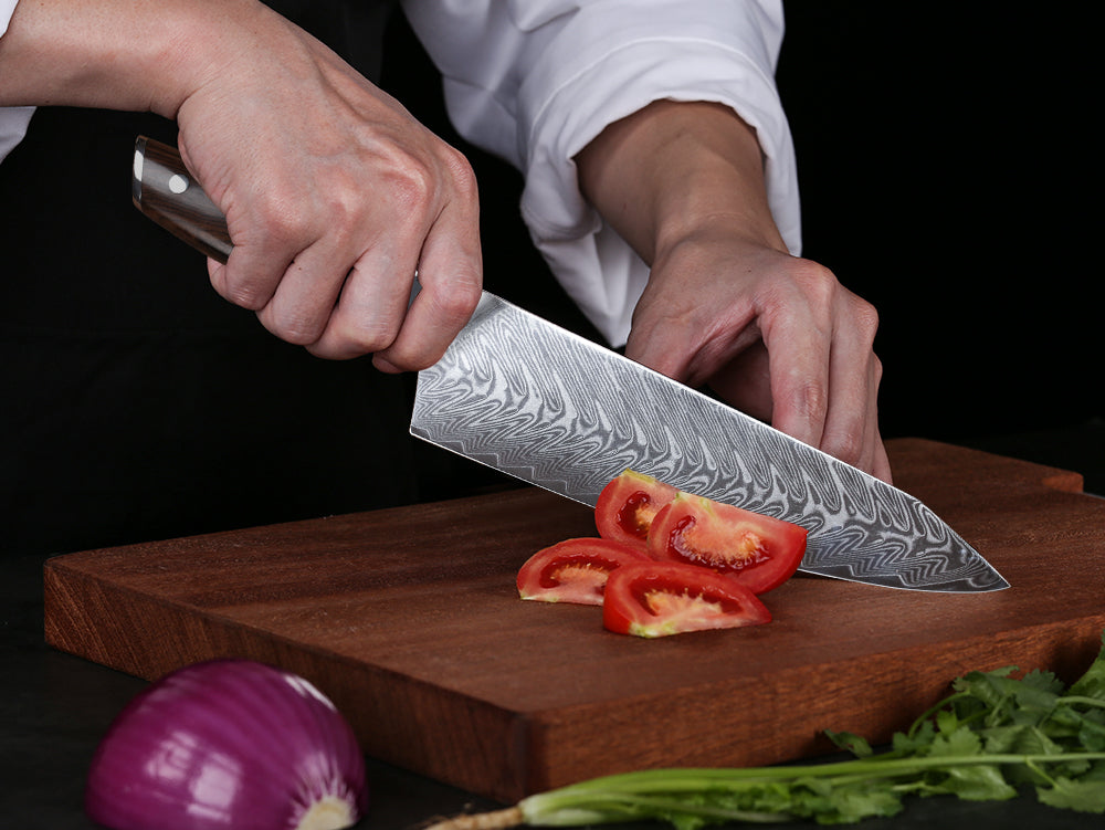 """The Meridian Elite Stealth makes my Best Chef Knives list for a couple of reasons:  1) it's highly recommended by Chad Ward in his book An Edge in the Kitchen as being super-sharp. It comes from the factory with a highly polished edge that Ward claims is superior to any of the """"big-name knife brands"""" and will hold it for a substantial amount of time  2) it has a partial bolster which makes it easier to sharpen (and is a nod to Japanese knives).  Messermeister has been a trailblazer in German kitchenknifedom. They were the first to produce a forged chef knife without a full bolster (yes, before Wusthof and Henckels), and. . .the first to sharpen their blades to a sassy 15-degree angle. (The old German standard being 20-22 degrees.)"""