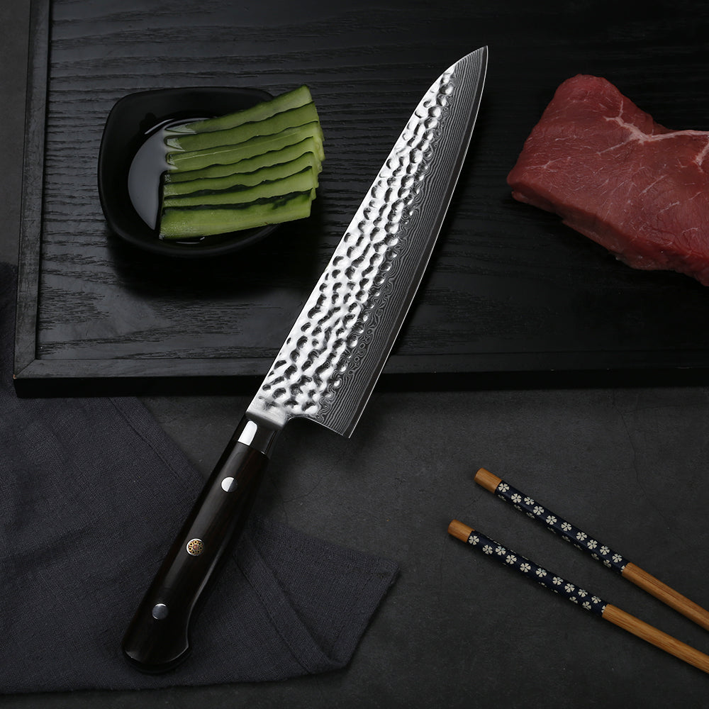 """Gyuto"" is a term for a Japanese-style chef's knife. They are the response to the demand from Western countries for kitchen knives. In the past, Japanese blacksmiths were famous for producing astonishing katanas and other weapons. With time, there was less demand for such products (apart from occasional buys for collection reasons), so blacksmiths focused on producing kitchen knives. In the typical Japanese kitchen, chefs use single-bevel knives, but western versions – wa-gyuto, gyuto have been gaining more and more popularity.  Gyutos are shaped the same way as western chef's knives and used the same way. It's nearly impossible to tell a slightly thicker Gyuto with a double bevel and a western-style handle from a western chef's knife. In other words, Gyutos and chef's knives are basically the same."