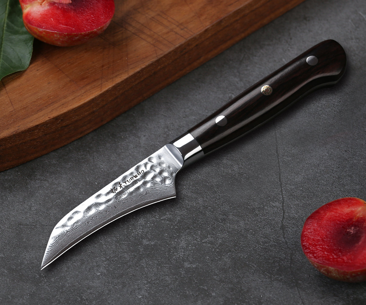 The small blade of a paring knife allows you more dexterity and precision than a chef's knife can provide.