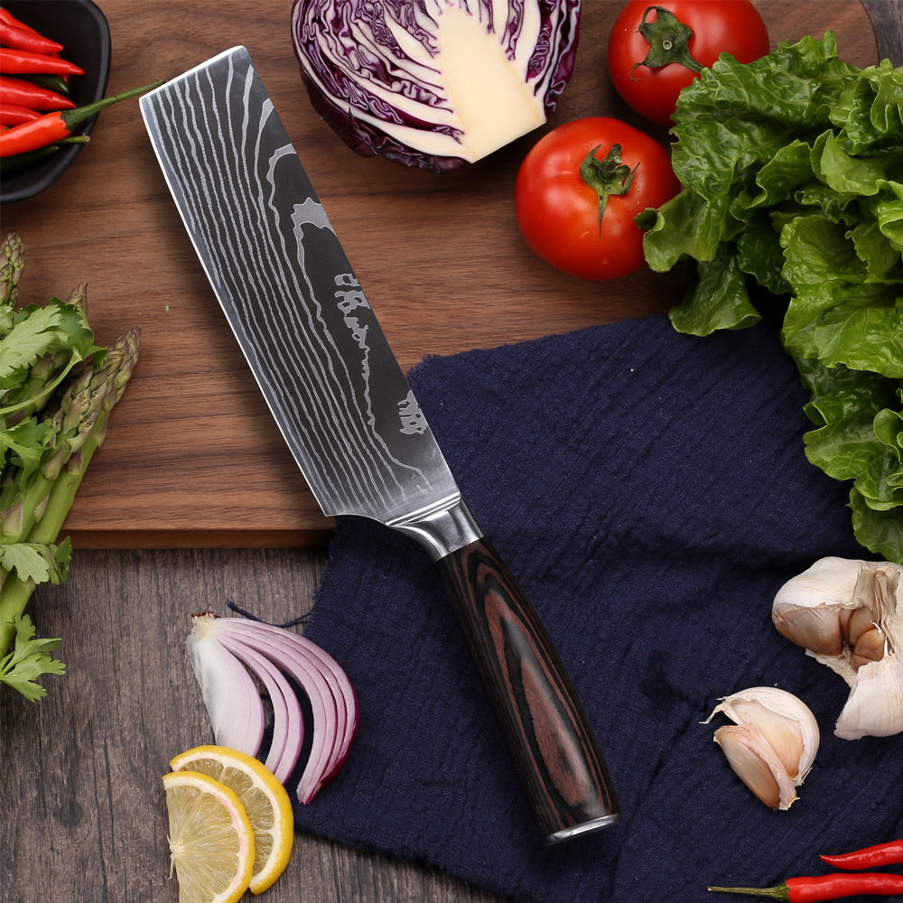 Kitchen 7 Inches Cleaver Knife Chopper Butcher Knife Stainless Steel for Home Kitchen and Restaurant