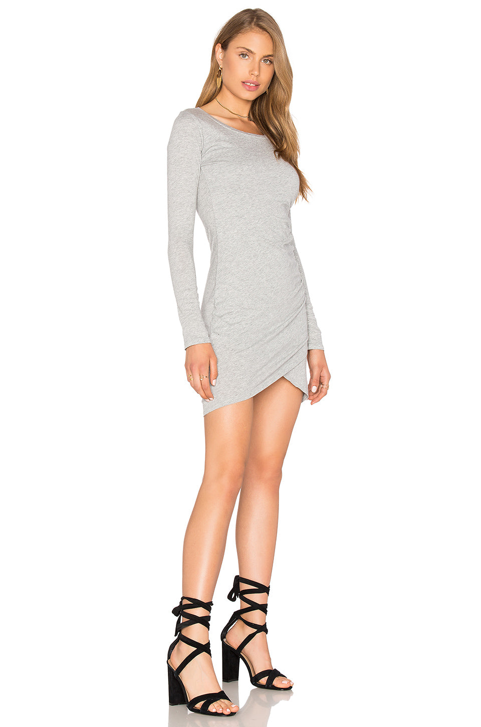 Ruched Long Sleeve Side Dress