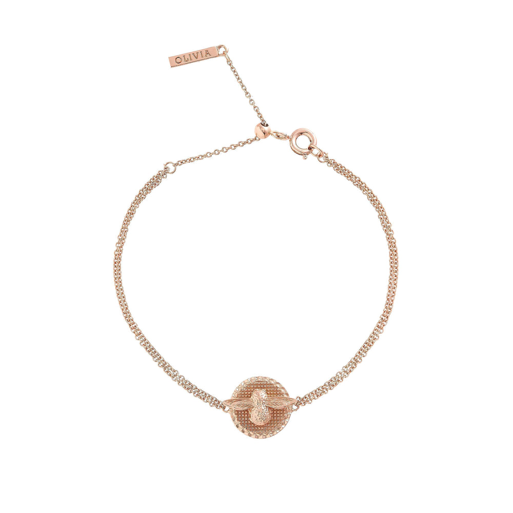 3D Bee Disc Chain Bracelet Rose Gold-Cocomi Malaysia