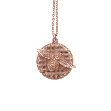 3D Bee Disc Necklace Rose Gold-Cocomi Malaysia