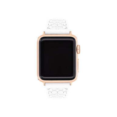 Coach Apple Watch® Strap White Rubber 38mm Women's (14700041)-Cocomi Malaysia