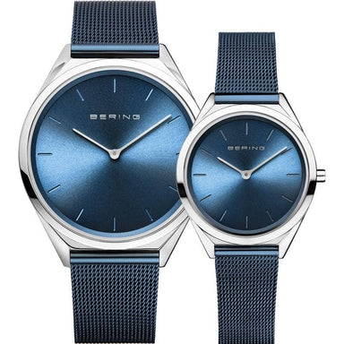 Bering Ultra Slim Blue 39 mm Unisex Watch (17039-307) & Bering Ultra Slim Blue 31 mm Unisex Watch (17031-307)-Cocomi Malaysia