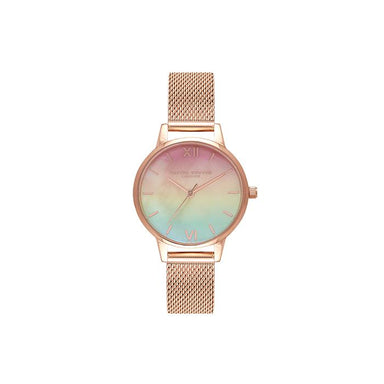 Olivia Burton Rainbow Bee White Mother Of Pearl & 3D Print Women's Watch (OB16RB25)-COCOMI Singapore