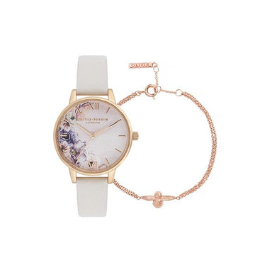Olivia Burton Watercolour Florals Pink & Floral Women's Watch (OB16GSET21)-Cocomi Malaysia
