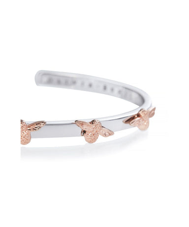 Olivia Burton 3D Bee Silver + Rose Gold Bangle (OBJ16AMB59)-Cocomi Malaysia