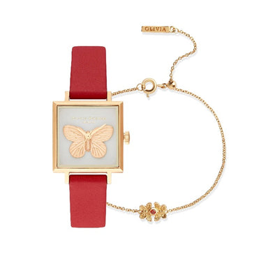 Olivia Burton 3D Butterfly Gift Set Red & Gold RED LEATHER Women's Watch (OB16GSET27)-Cocomi Malaysia