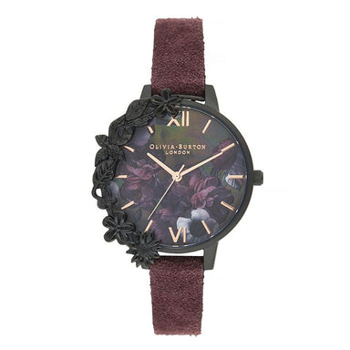 Olivia Burton After Dark Black Mother Of Pearl & Floral Women's Watch (OB16AD44)-Cocomi Malaysia