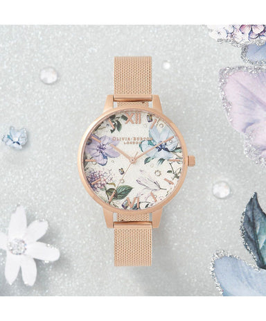 Olivia Burton Bejewelled Florals Ionic Rose Gold Plated Steel Women's Watch (Ob16Bf27)-Cocomi Malaysia