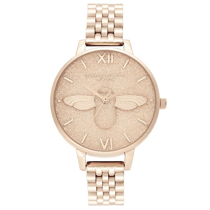 Olivia Burton Glitter Dial Pale Rose Gold Bracelet Women's Watch (Ob16Gd46)-Cocomi Malaysia