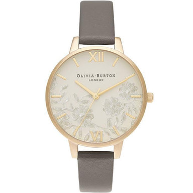 Olivia Burton Lace Detail London Grey Women's Watch (Ob16Mv98)-Cocomi Malaysia