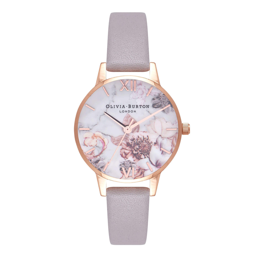 Olivia Burton Marble Florals Grey Lilac 30mm Women's Watch-Cocomi Malaysia