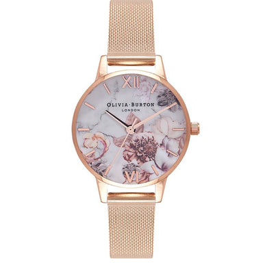 Olivia Burton Marble Florals Rose Gold Women's Watch (Ob16Cs06)-Cocomi Malaysia