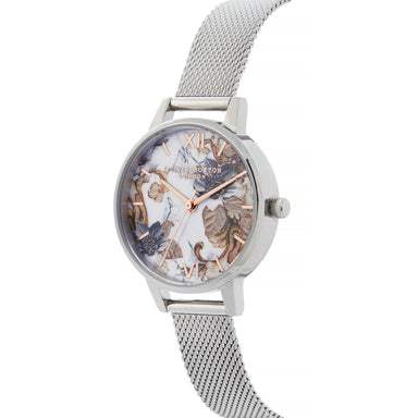 Olivia Burton Marble Florals Silver 30mm Women's Watch-Cocomi Malaysia