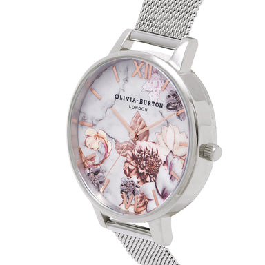 Olivia Burton Marble Florals Silver Women's Watch (Ob16Cs10)-Cocomi Malaysia