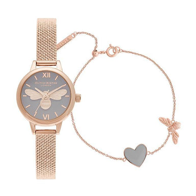 Olivia Burton Mini Dial Grey & Bee Women's Watch (OBGSET148)-COCOMI