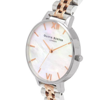 Olivia Burton Mother Of Pearl Bracelet Rose Gold And Silver Women's Watch (OB16MOP06)-Cocomi Malaysia