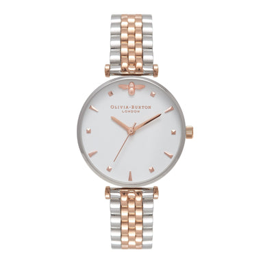 Olivia Burton Queen Bee SILVER & ROSE GOLD Women's Watch (OB16AM93)-Cocomi Malaysia
