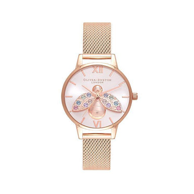Olivia Burton Rainbow Bee Silver Sunray Women's Watch (OB16RB28)-COCOMI