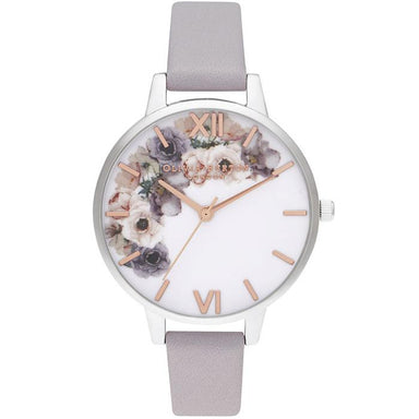 Olivia Burton Watercolour Florals Grey Lilac Leather Women's Watch (Ob16Pp56)-Cocomi Malaysia