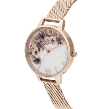 Olivia Burton Watercolour Florals Pale Rose Gold Women's Watch (Ob16Pp57)-Cocomi Malaysia