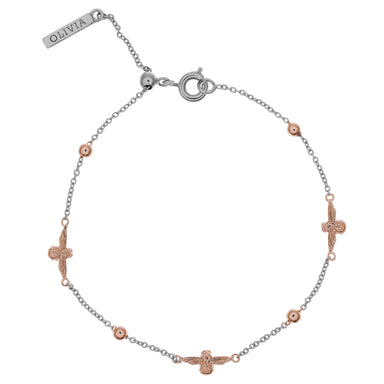 Queen Bee & Ball Chain Bracelet Silver & Rose Gold-Cocomi Malaysia