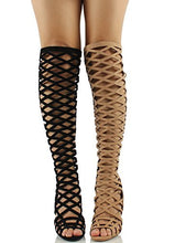 Load image into Gallery viewer, Tan Caged Cutout Lace-Up High Heel Boots