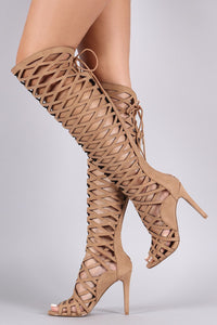 Tan Caged Cutout Lace-Up High Heel Boots