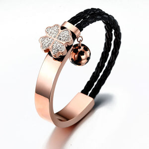 Flower Crystal and Leather Bracelet