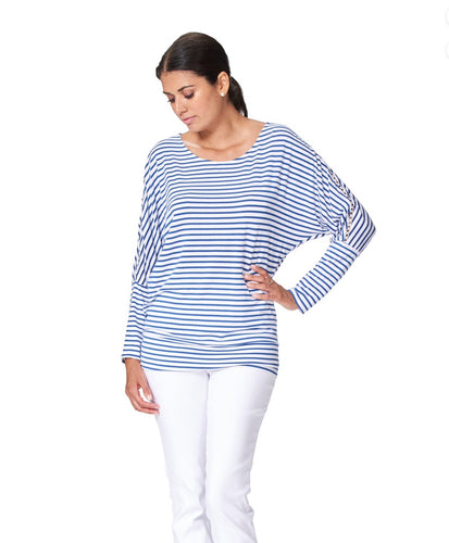 Boat neck navy stripe top