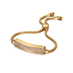 String Gold & Crystal Bracelet