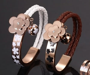 Leather and Stainless Steel Flower  Bracelet