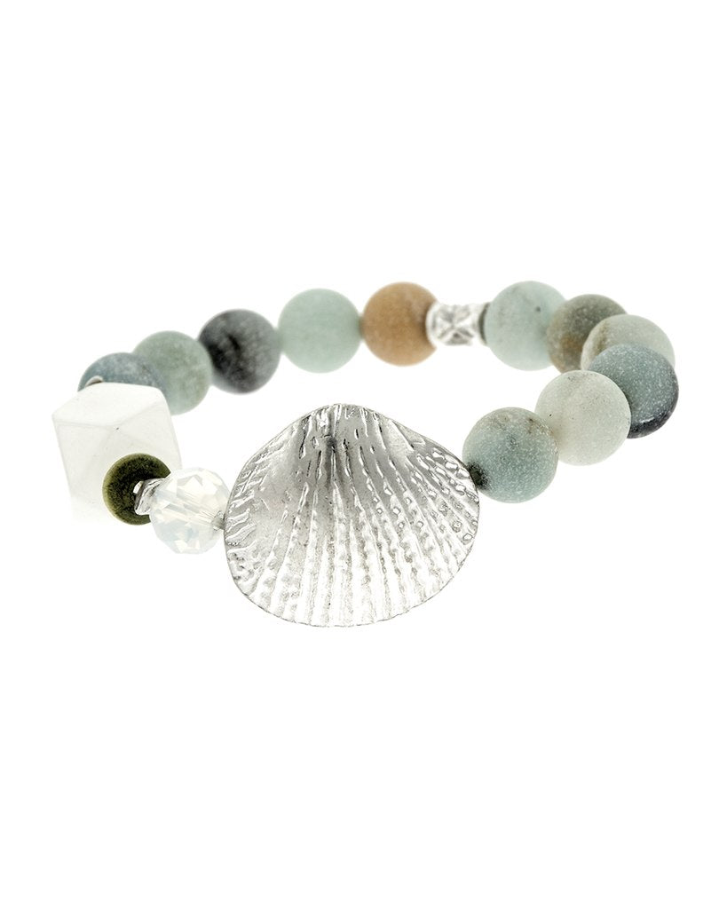 Silver Seashell Beaded Bracelet